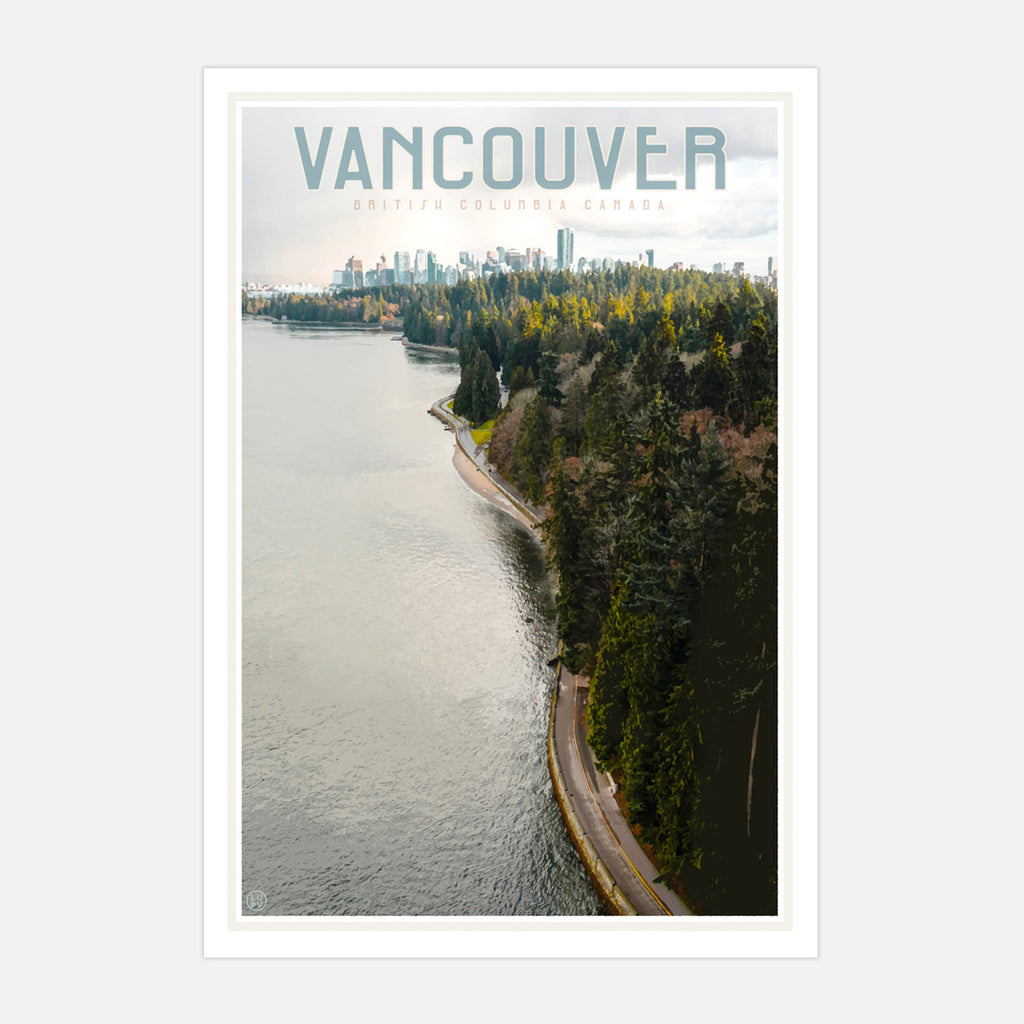 Vintage style travel print of Vancouver Canada by placesweluv