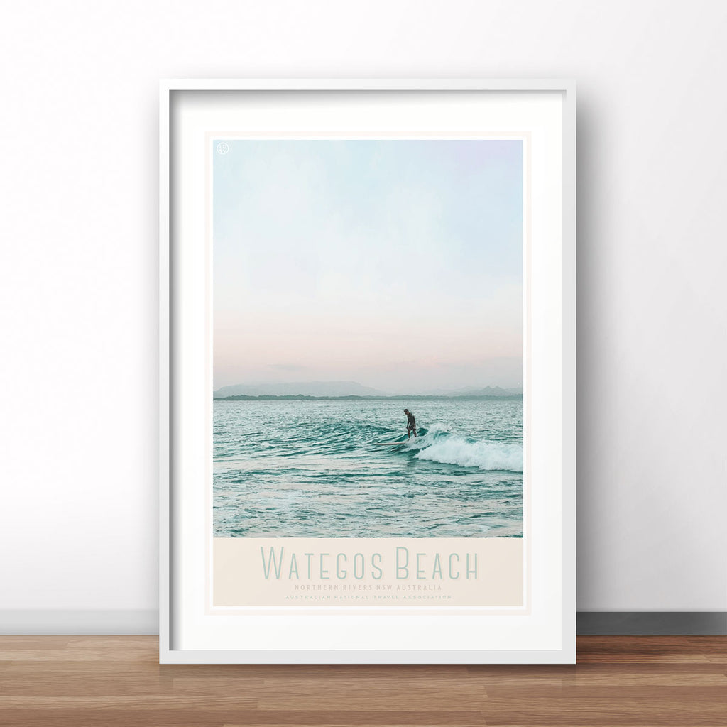 Wategos Beach travel style print original design Places We Luv