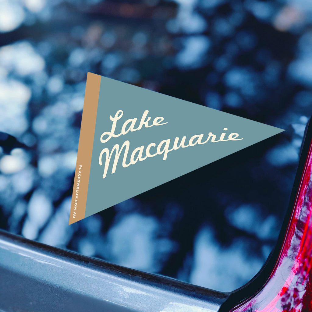 Lake Macquarie retro travel flag decal by places we luv