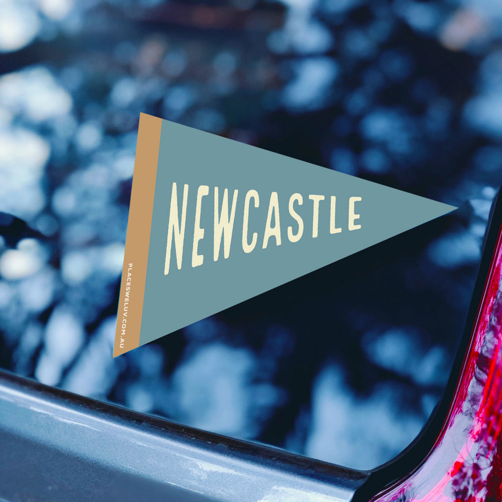 Newcastle NSW vintage travel style flag designed by Places We Luv