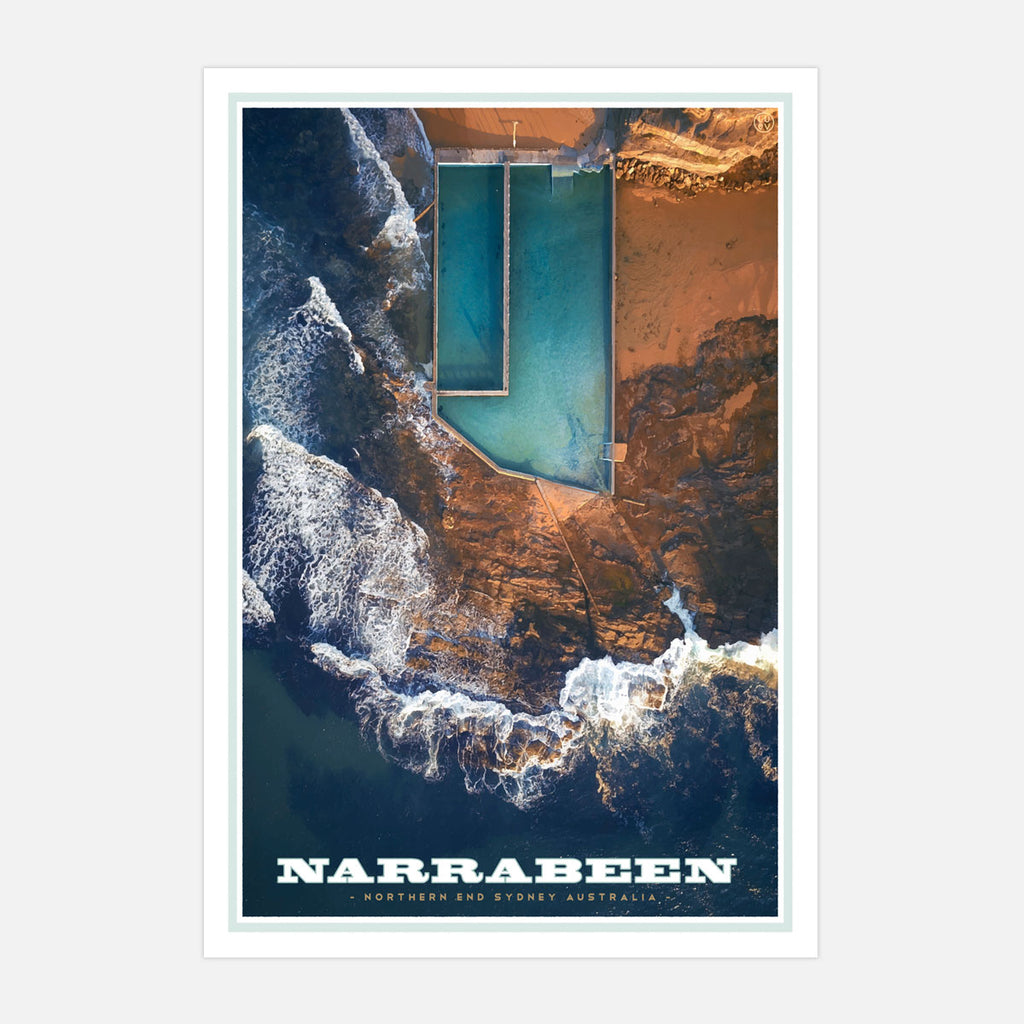 Narrabeen vintage travel style print by places we luv