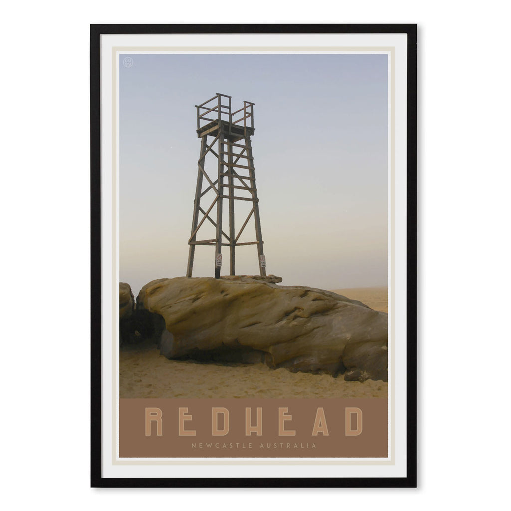 Newcastle redhead beach vintage travel style black framed print places we luv