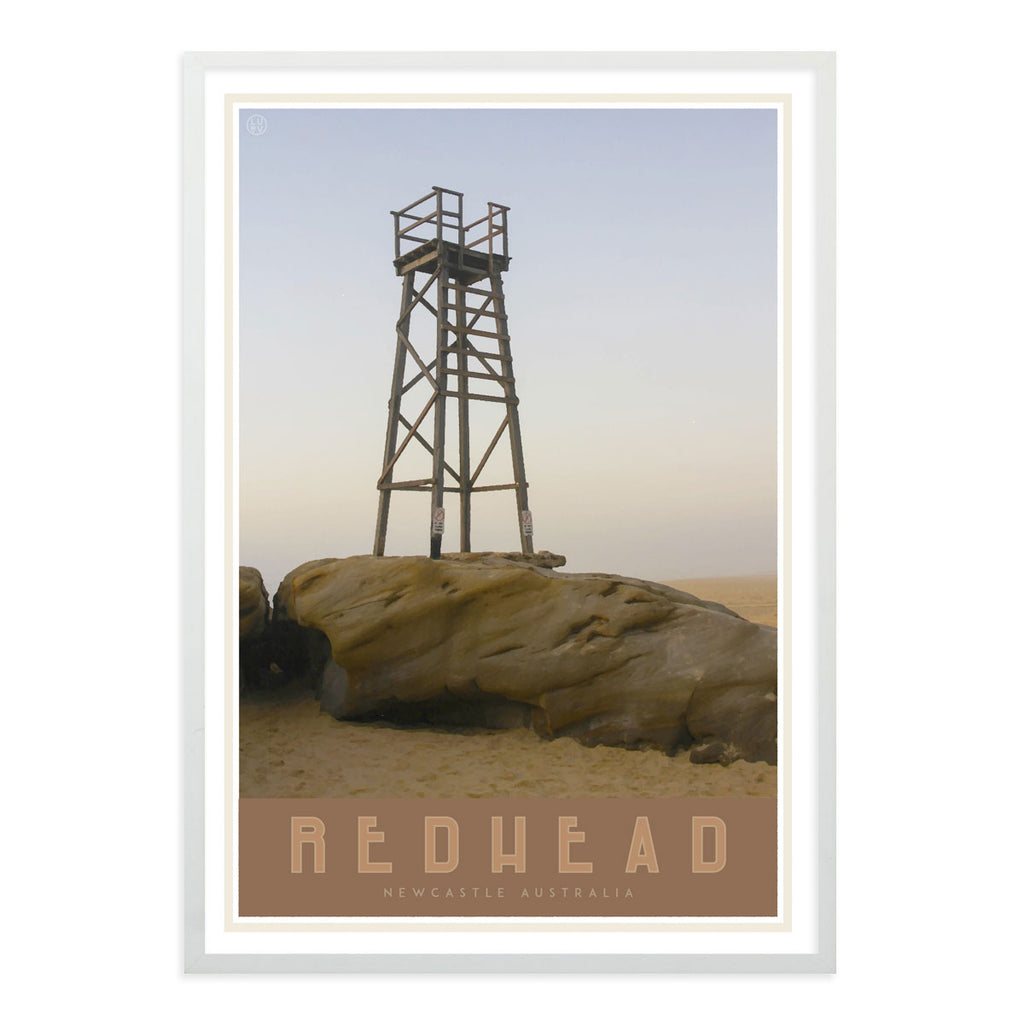 Redhead beach vintage travel style framed print places we luv
