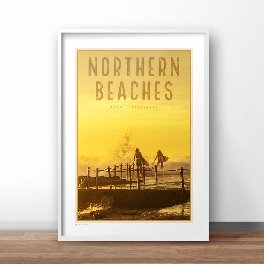 Northern Beaches vintage travel style white framed prints by Places We Luv