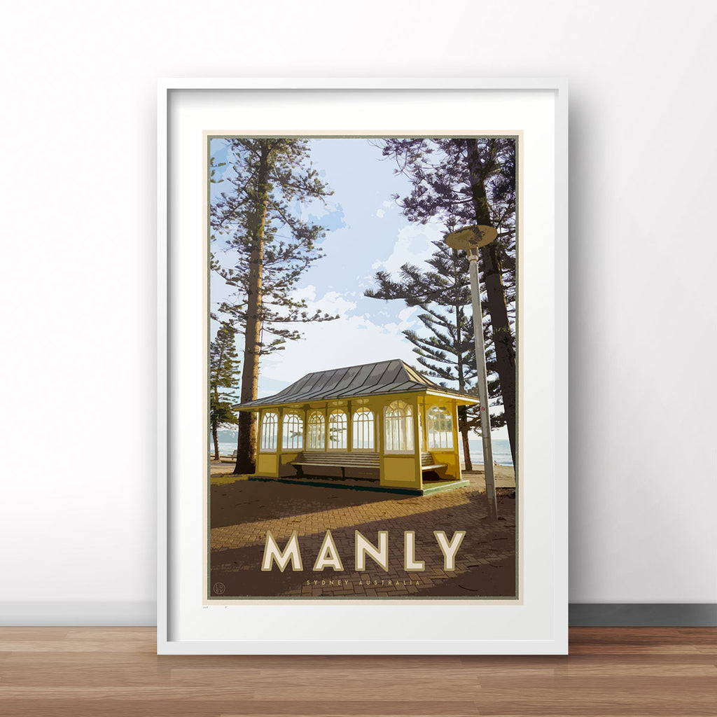 Manly Beach vintage travel style poster by places we luv