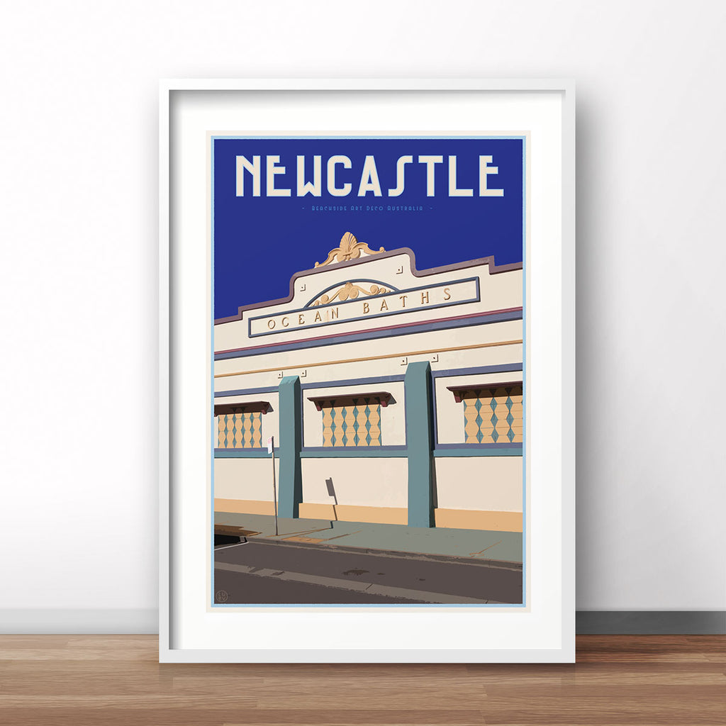 Vintage travel style poster of Newcastle Baths by Places We Luv
