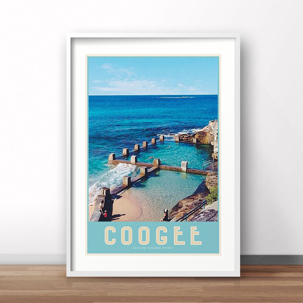 Coogee Pool vintage travel style white framed prints by places we luv