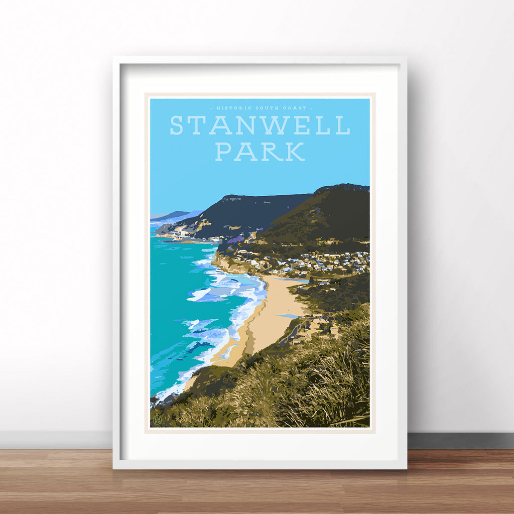 Stanwell Park South coast vintage travel style print by placesweluv