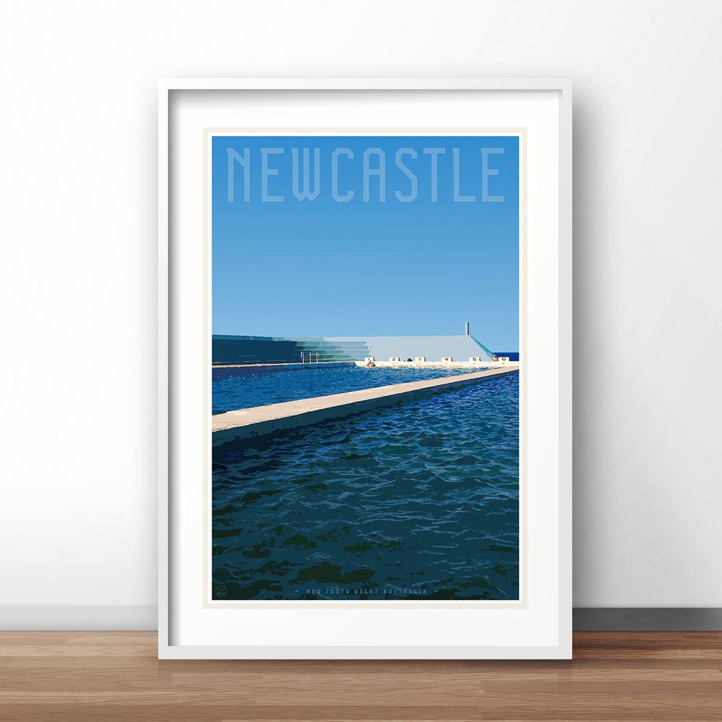 Newcastle pool NSW vintage travel style poster by Places we luv