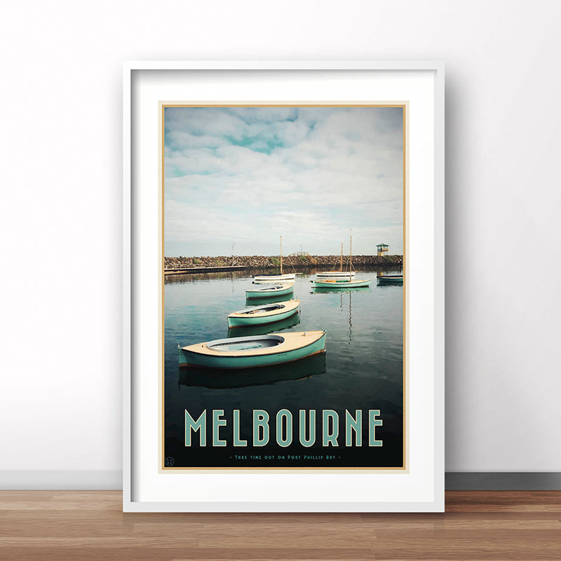 Melbourne St Kilda travel vintage style poster by places we luv