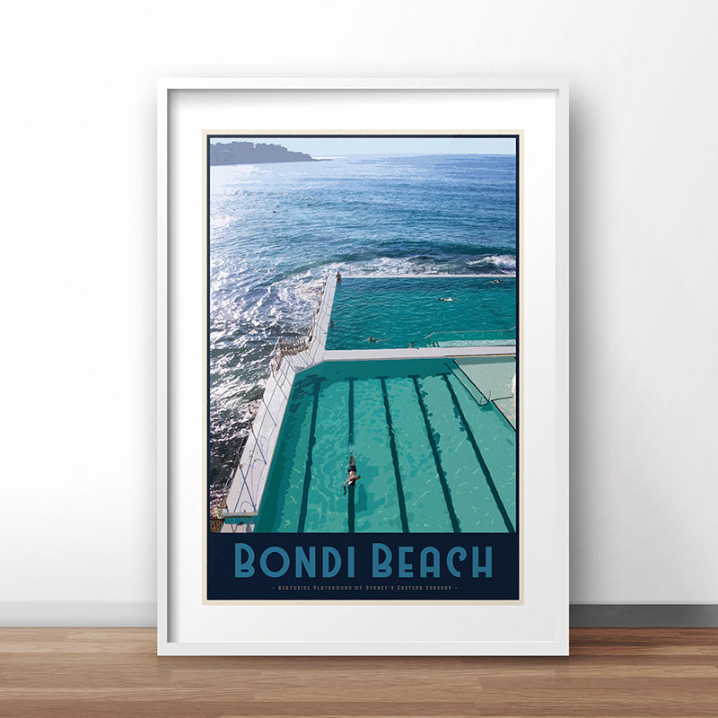 Bondi Beach Pool Poster vintage travel style - Places We Luv