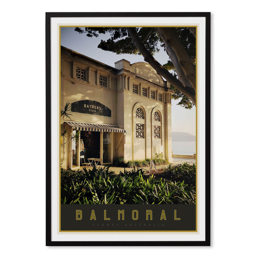 Balmoral print black framed - vintage travel style  by places we luv