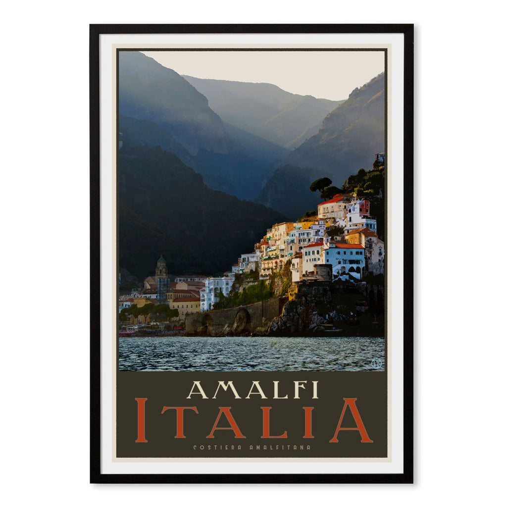 Amalfi Italy vintage style travel framed print by Places We Luv Australia