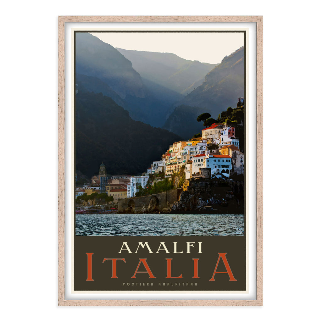 Amalfi Italy vintage style travel print by Places We Luv