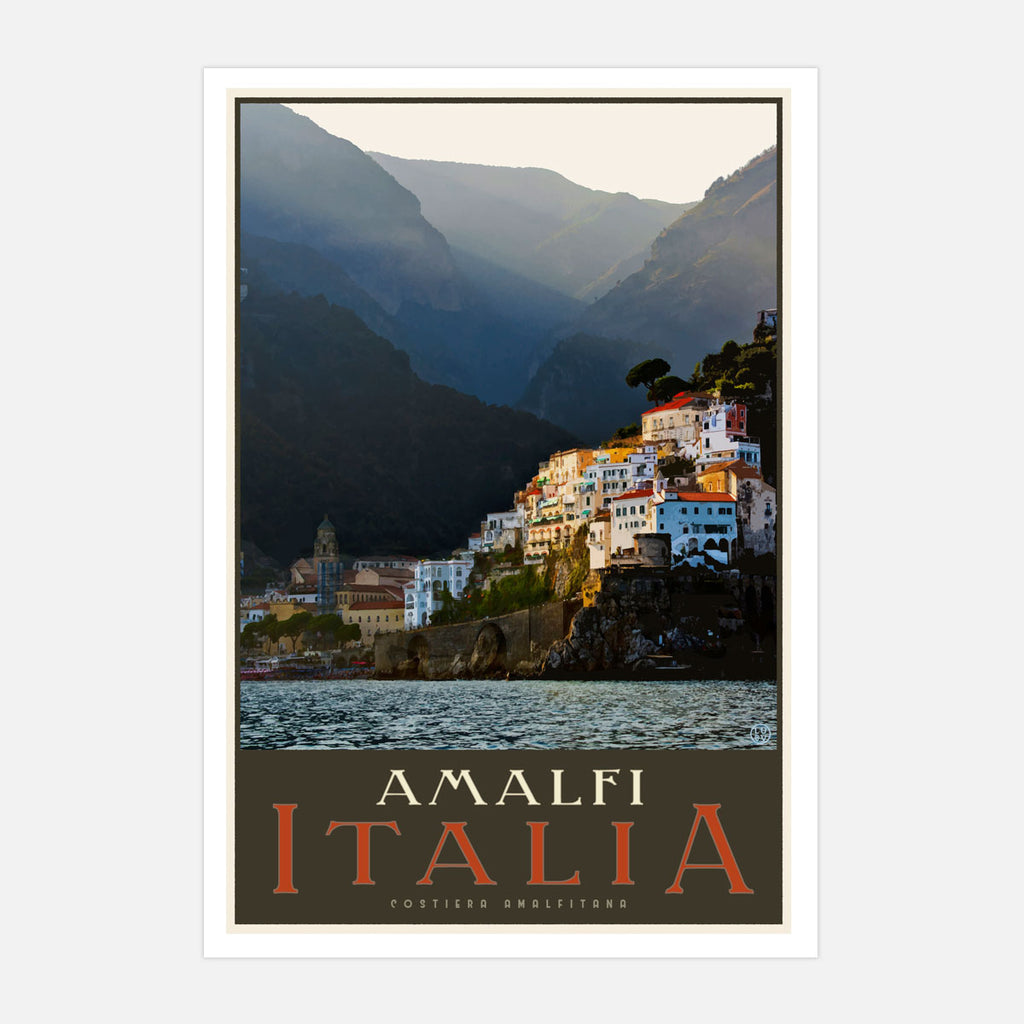 Amalfi Italy vintage travel style print by Places We Luv Australia