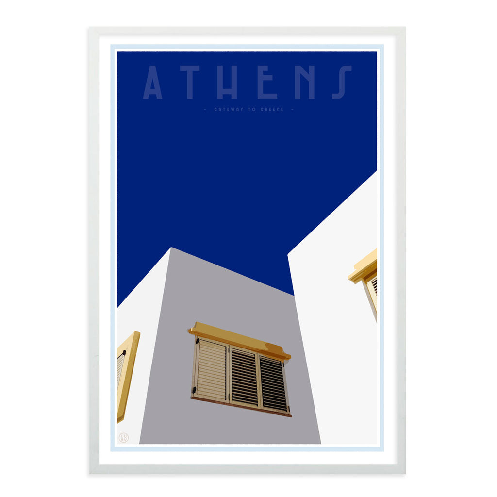 White framed Athens print - Places we luv