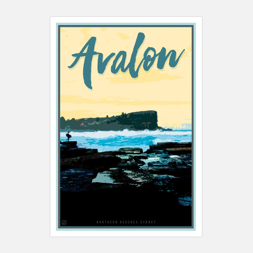 Avalon Beach print by Placesweluv - vintage travel style print