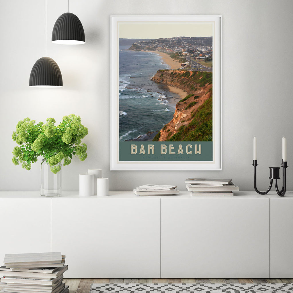 Newcastles Bar Beach travel style poster design by placesweluv