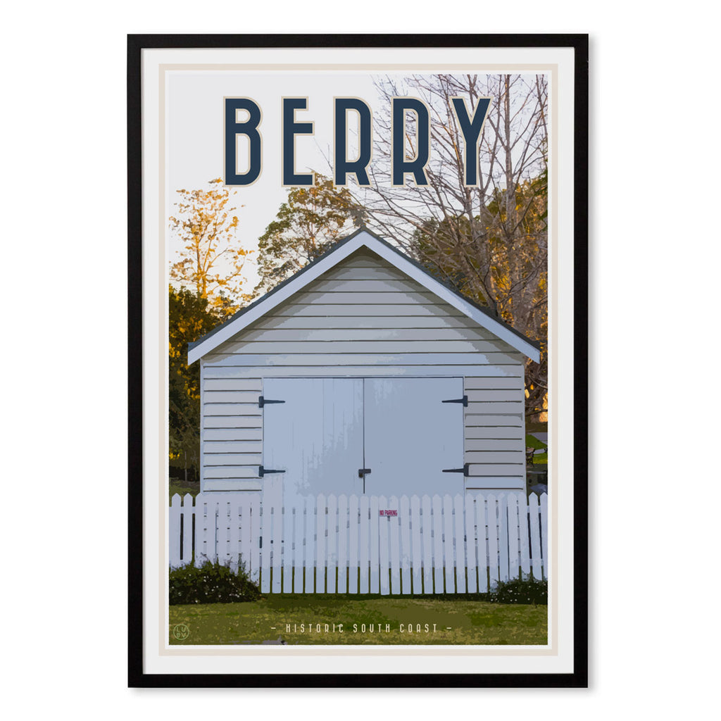 Berry south coast village travel style black framed print