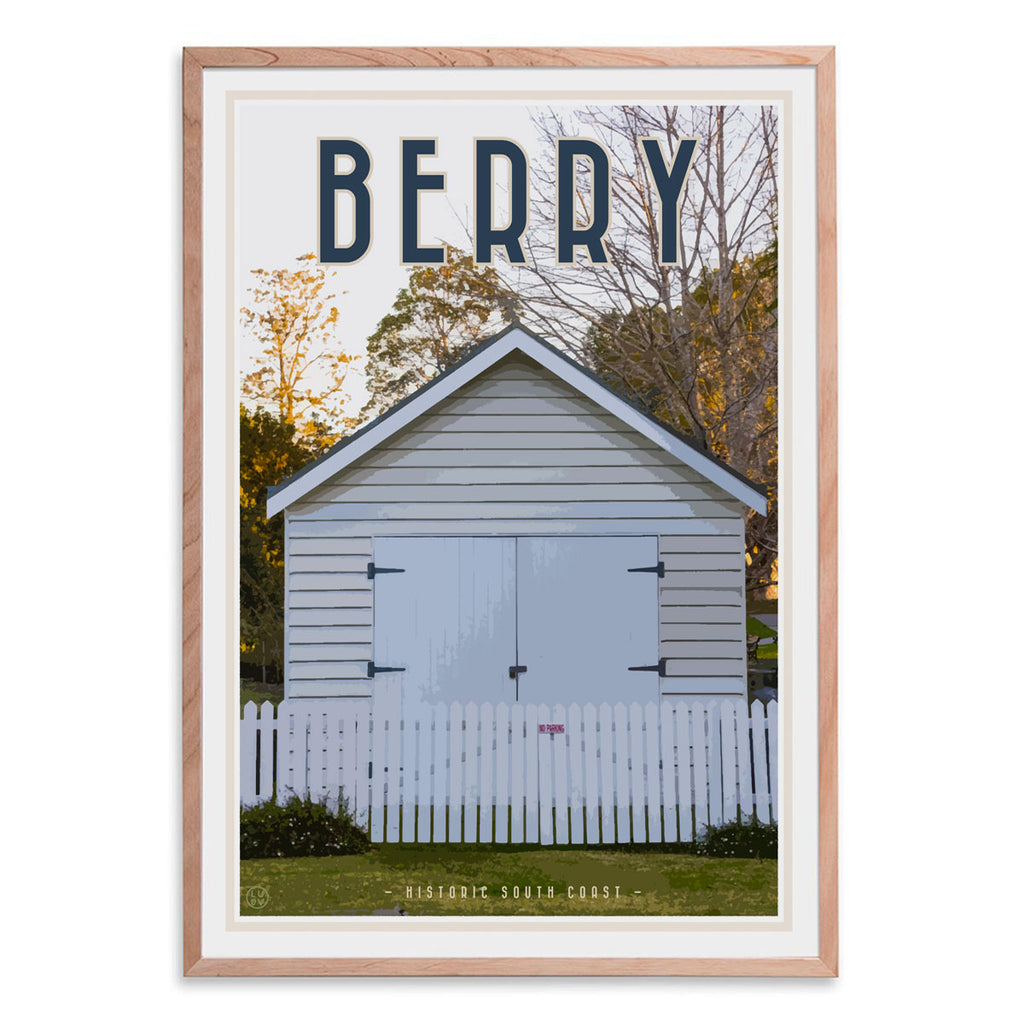 Berry south coast village travel style oak framed print