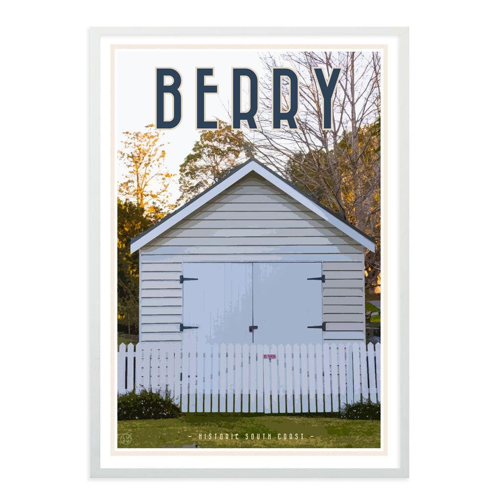 Berry south coast village travel style white framed print placesweluv