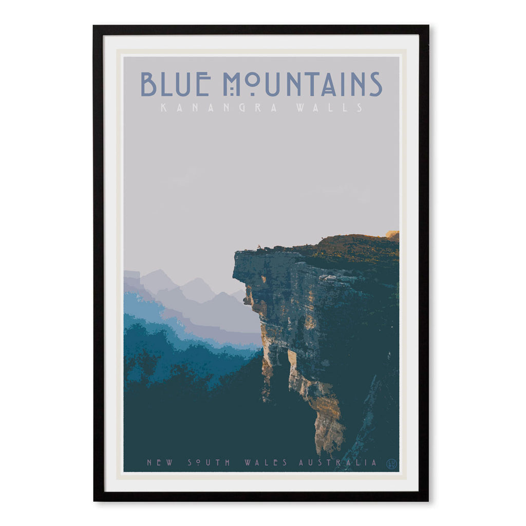 Blue Mountains vintage travel style framed print by Places We Luv