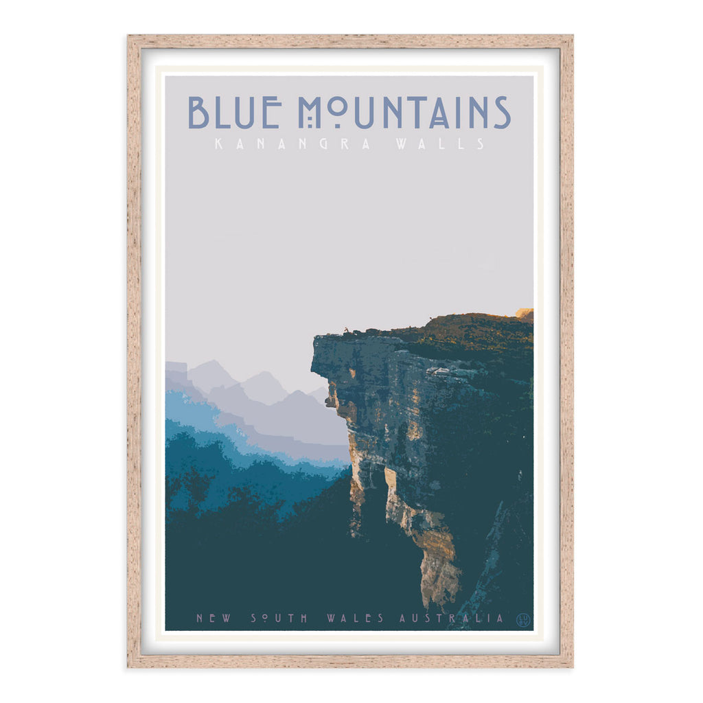 Blue Mountains vintage travel styleoak framed print by Places We Luv