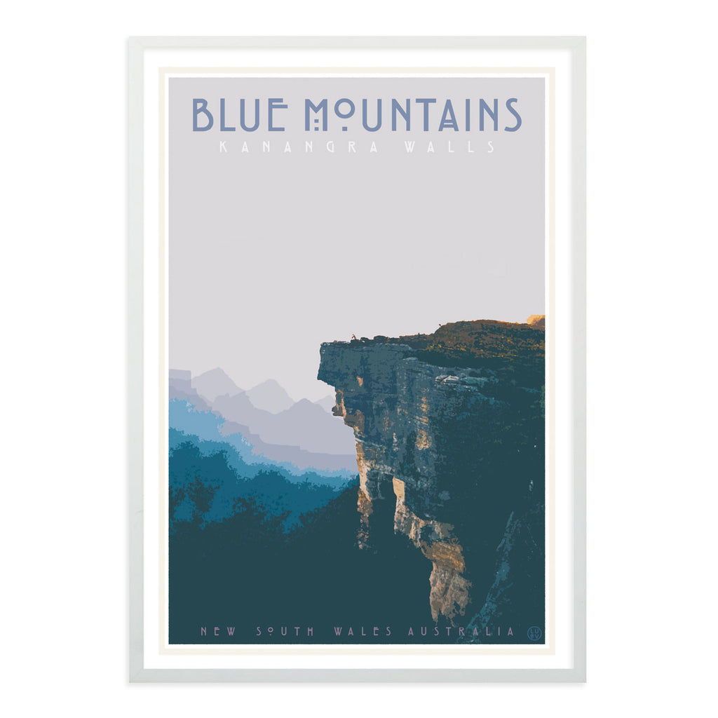 Blue Mountains vintage travel style white framed print by Places We Luv