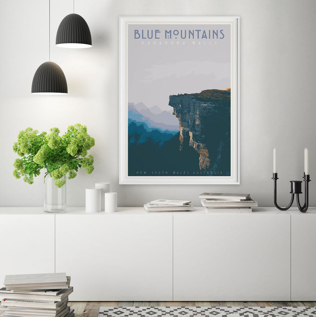 Blue Mountains vintage travel style art print by Places We Luv