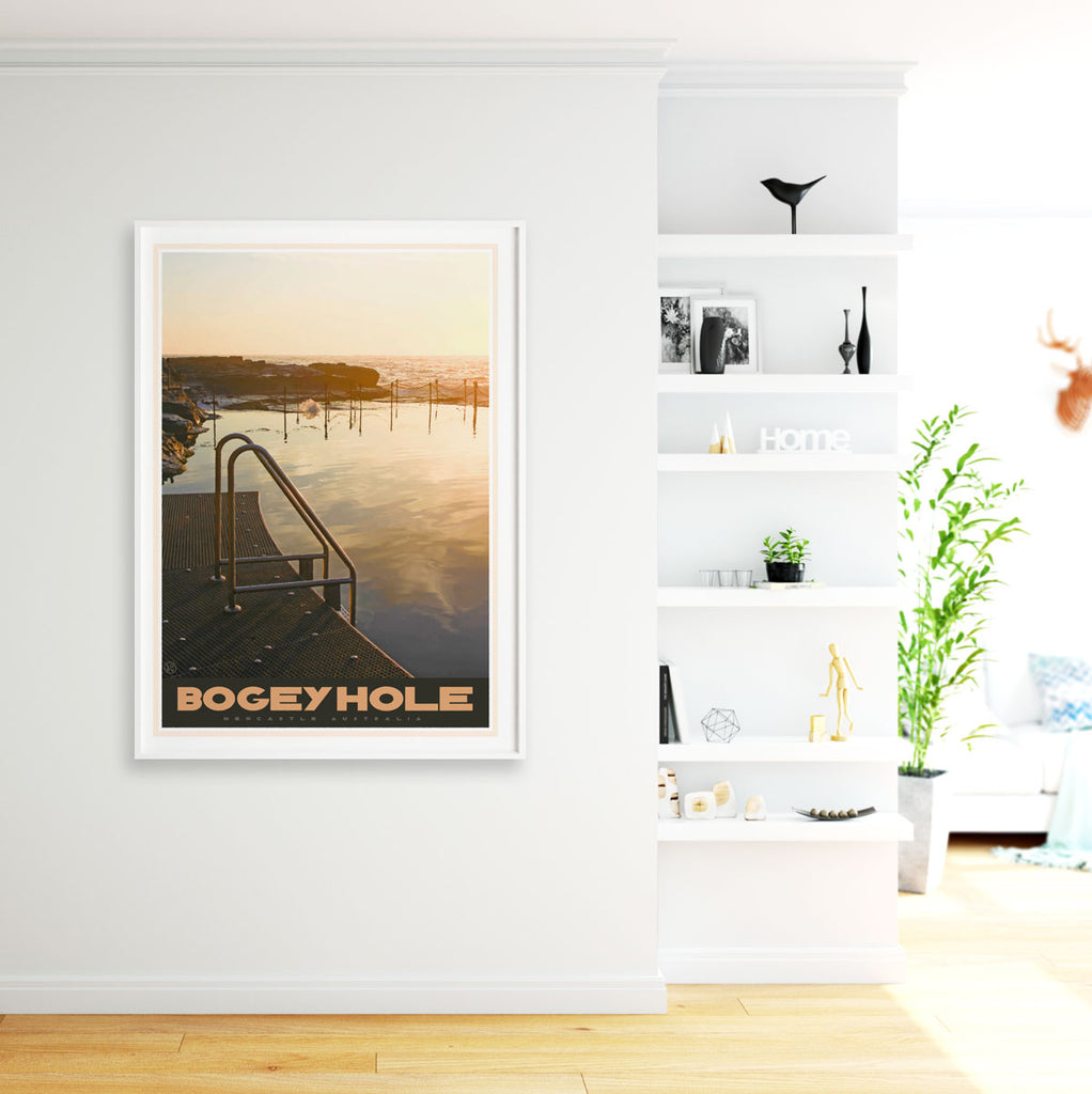 Newcastle Bogey Hole vintage travel style poster - places we luv