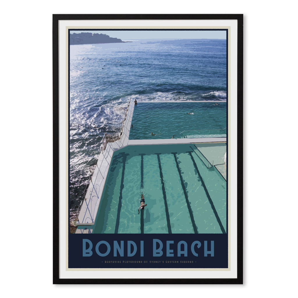 Bondi Beach Pool Black Framed Print - Places We Luv