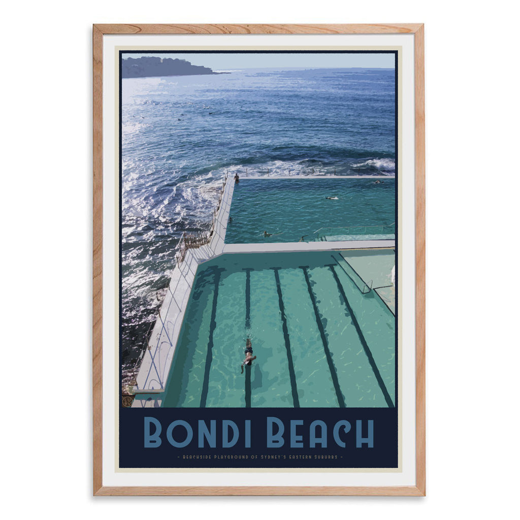 Bondi Beach Pool Print - framed in oak by Places We Luv