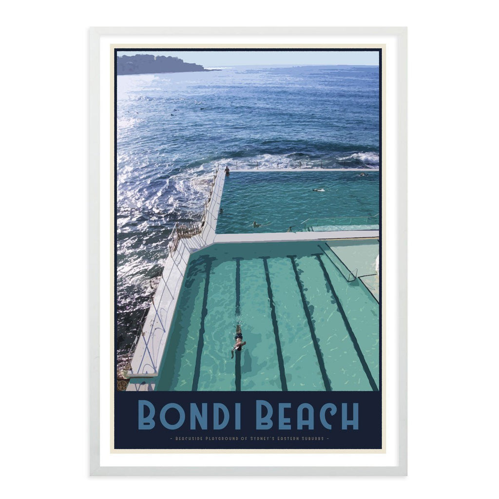 Bondi Beach Pool Poster vintage travel style - White Framed Print - Places We Luv