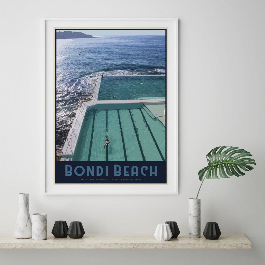 Bondi Beach Poster vintage travel style - Places We Luv