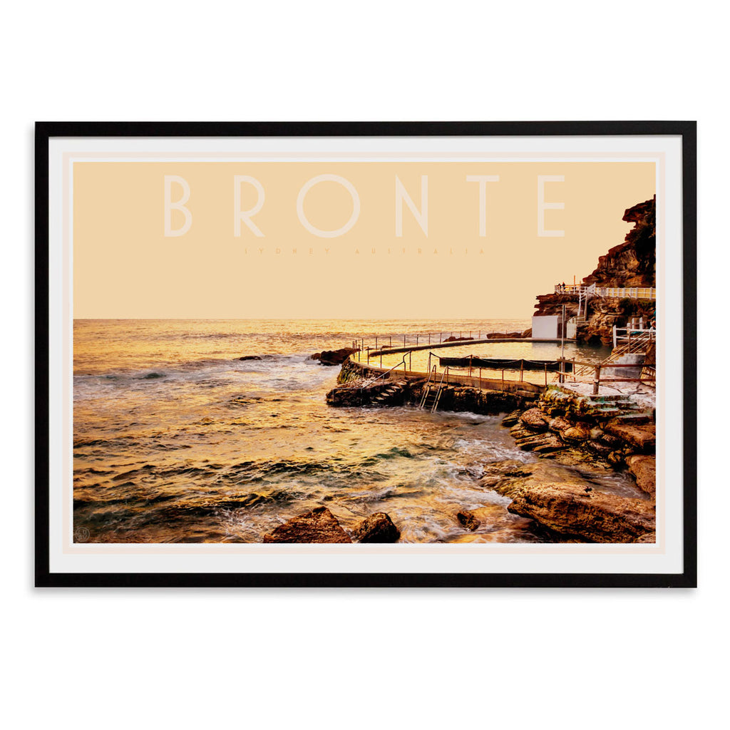 Places we luv - Bronte pool vintage travel style black framed print