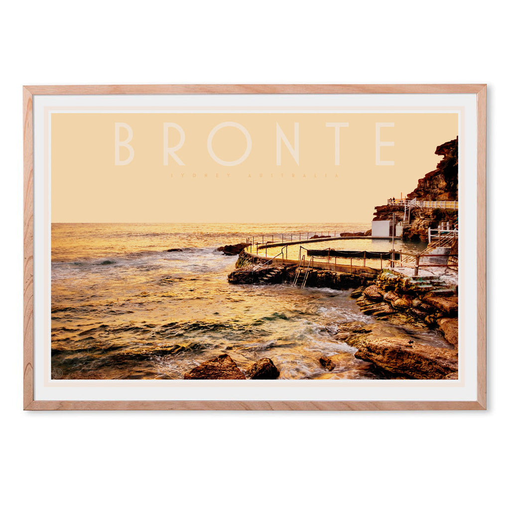Bronte pool vintage travel style framed print by places we luv