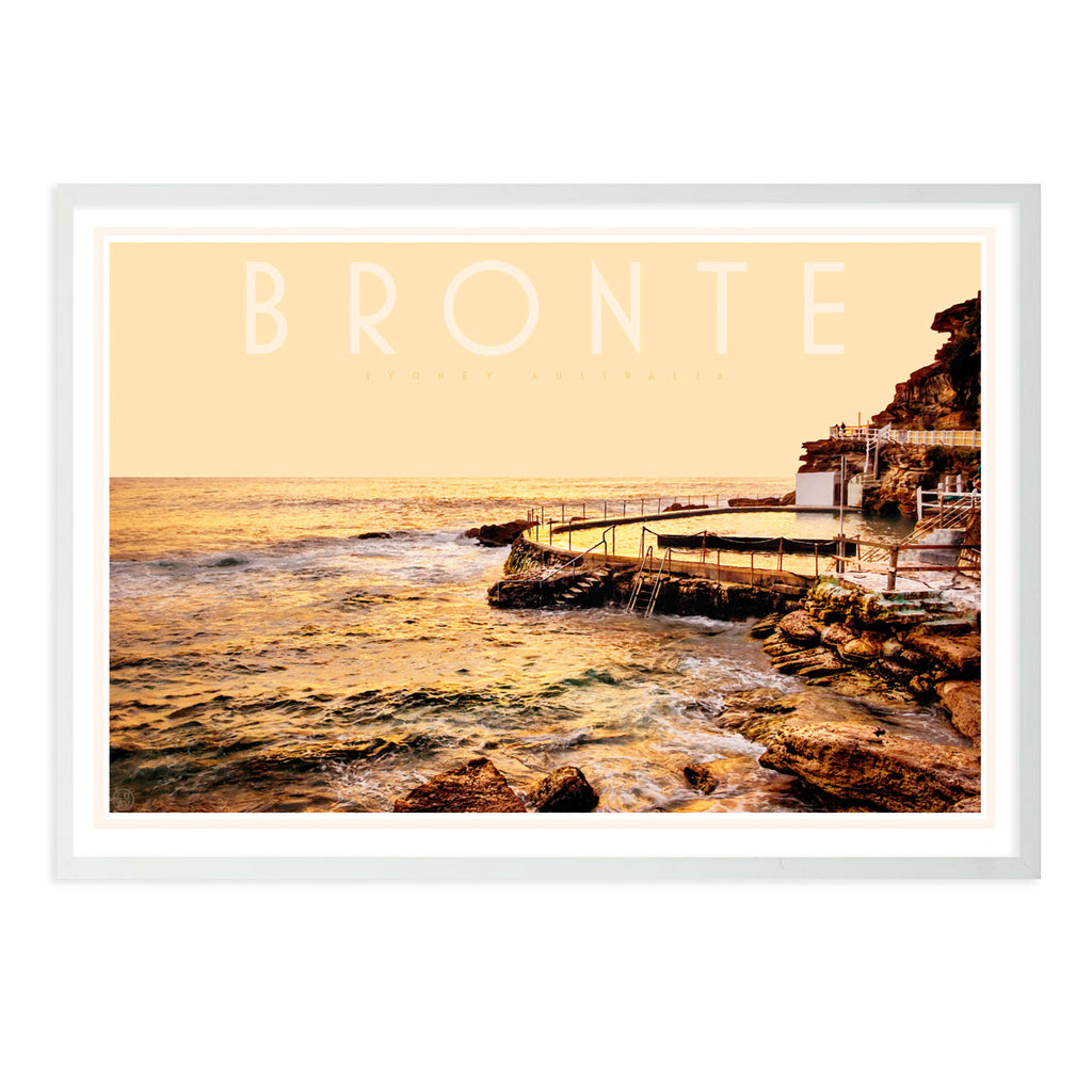 Bronte pool vintage travel style white framed print by places we luv
