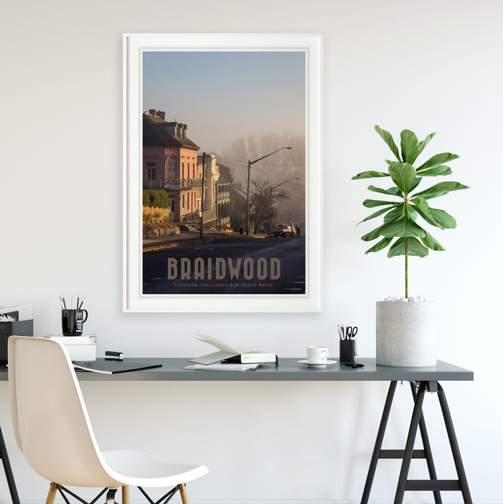 Braidwood Street framed vintage travel style poster. Original design Places We Luv