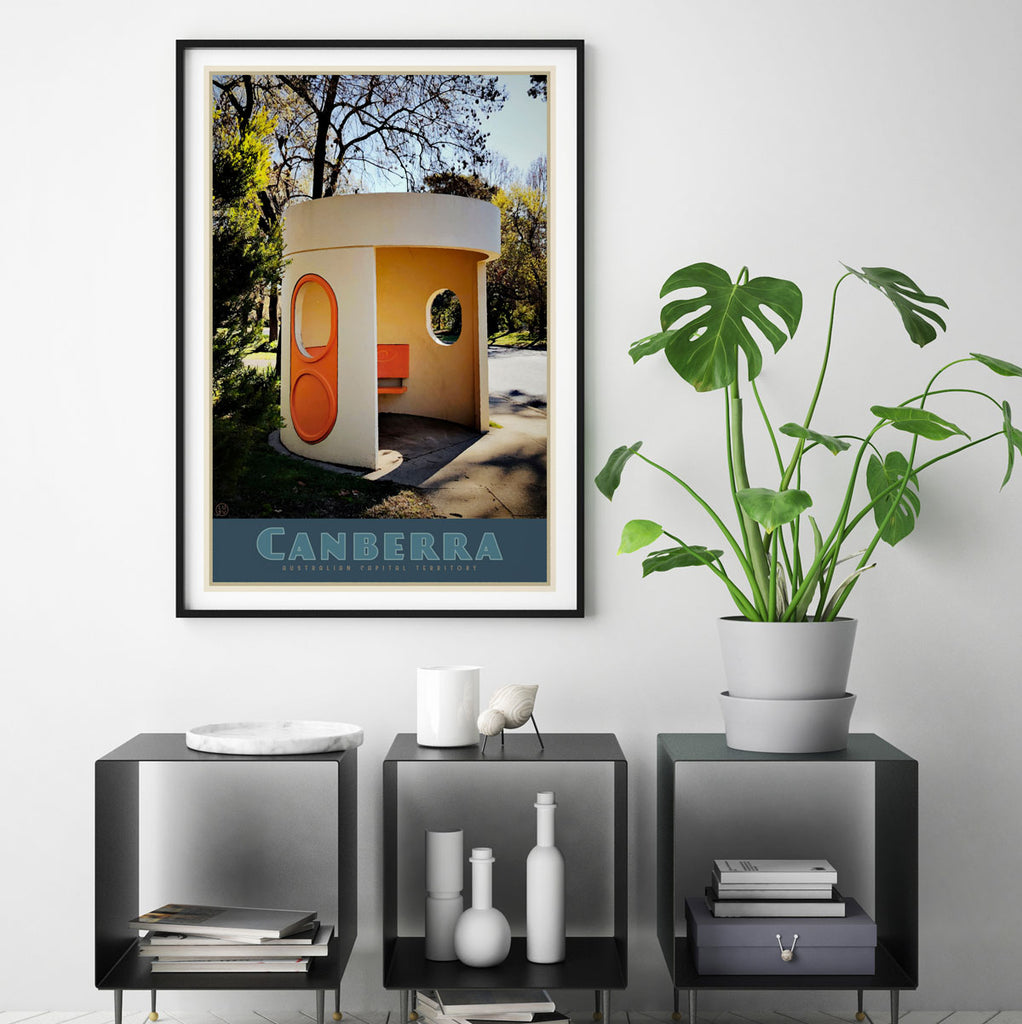 Canberra busstop vintage travel poster. Original design by Places we luv