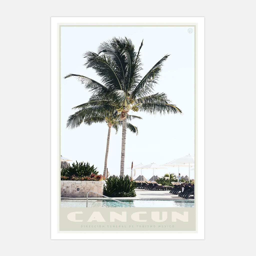 Vintage style travel print of Cancun Mexico by placesweluv