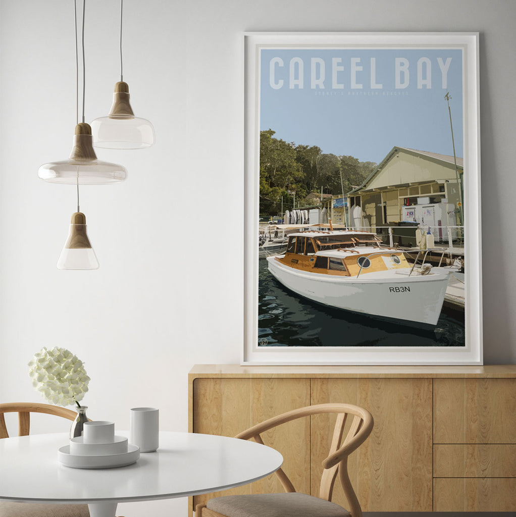 Careel Bay framed print. Vintage travel style original design by Places we luv