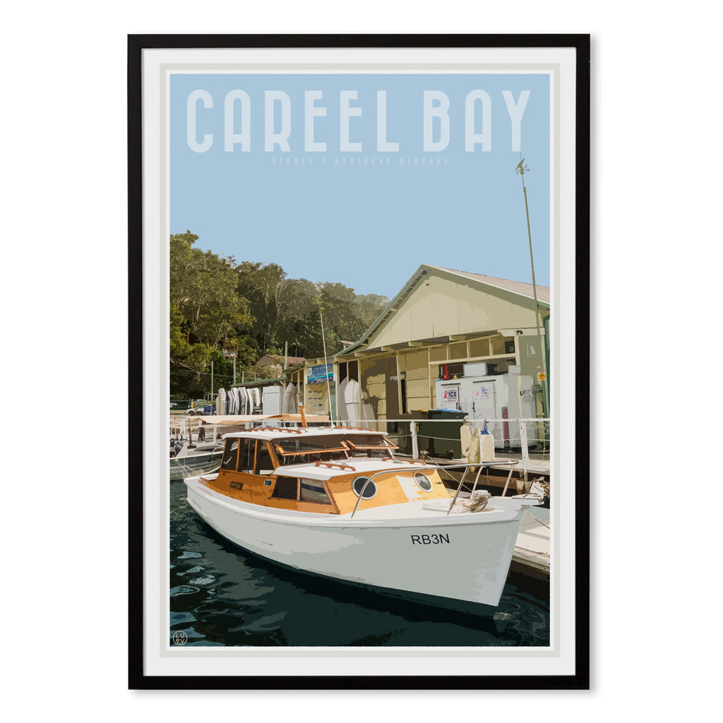 Careel Bay print and poster. Travel style original design