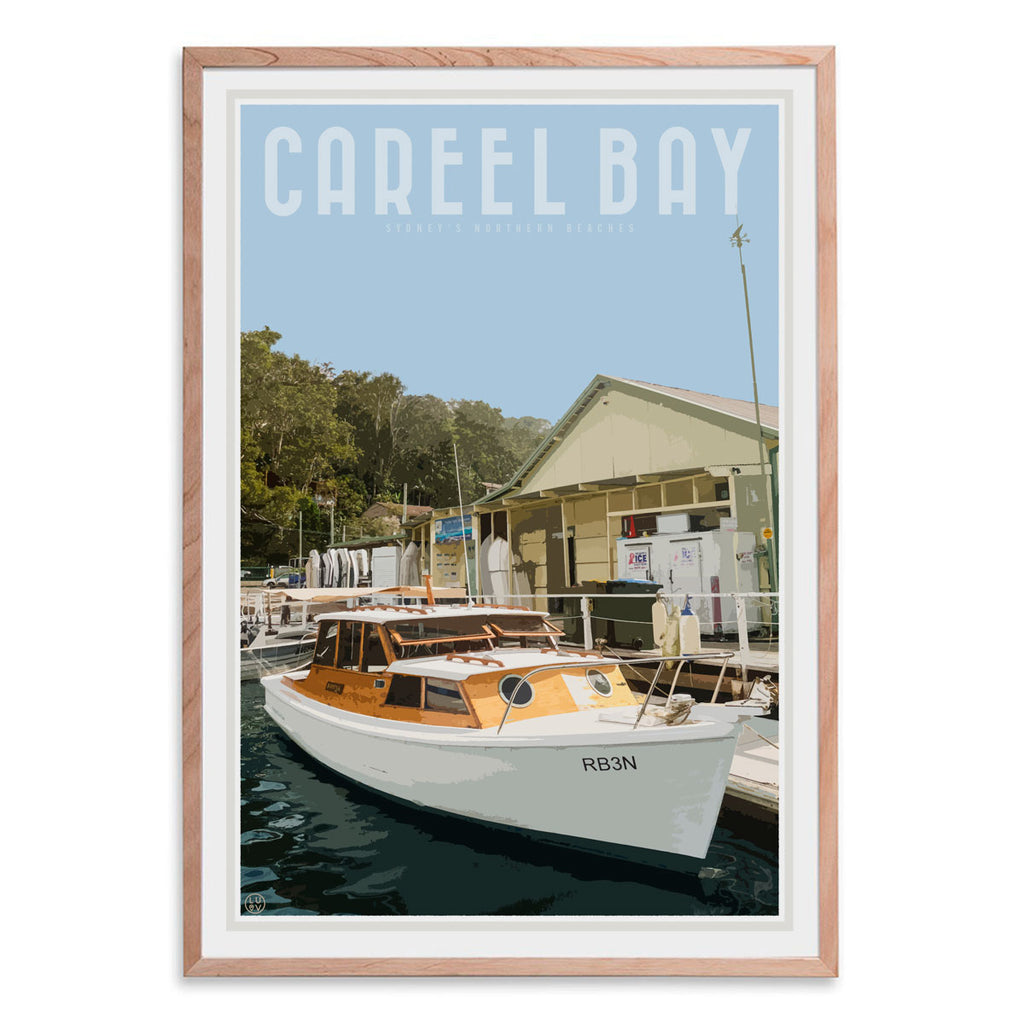 Careel Bay framed print. Vintage style travel design by Places we luv