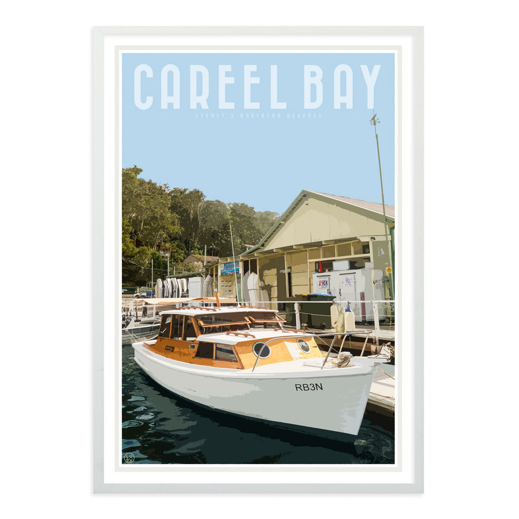 Careel Bay framed print. Vintage travel style design by Places we luv