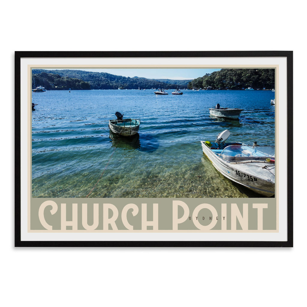 Black framed Church Point art print by places we luv