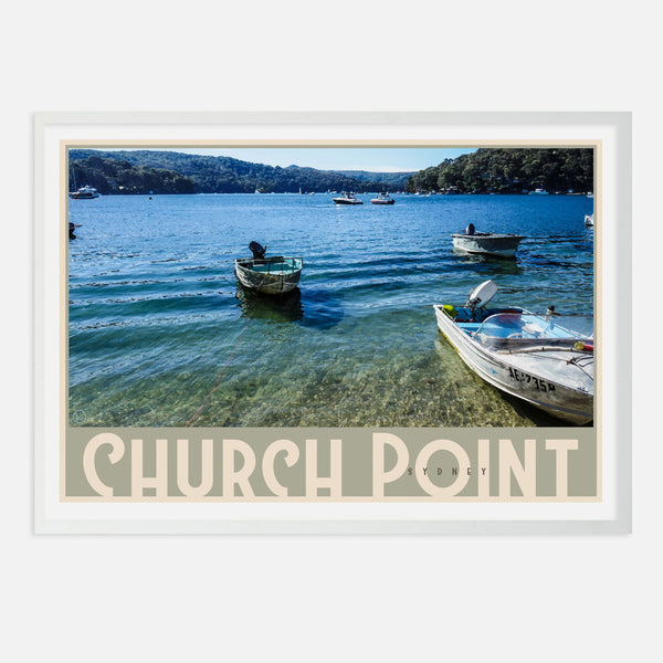 White framed Church Point art print, by places we luv