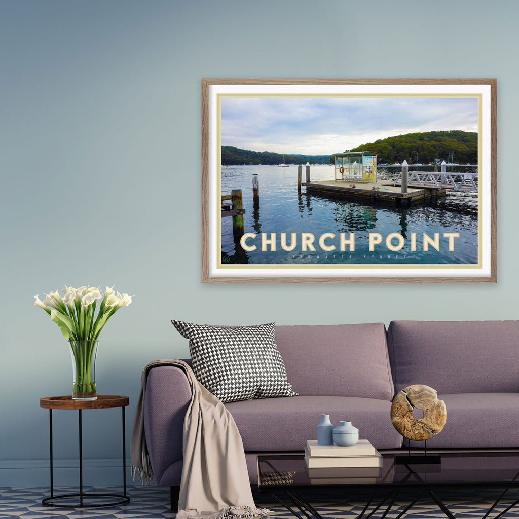 Churchpoint Pittwater poster - original design by Placesweluv