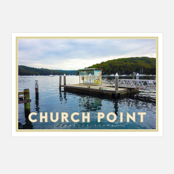 Churchpoint wharf poster - original design, unique print by Placesweluv