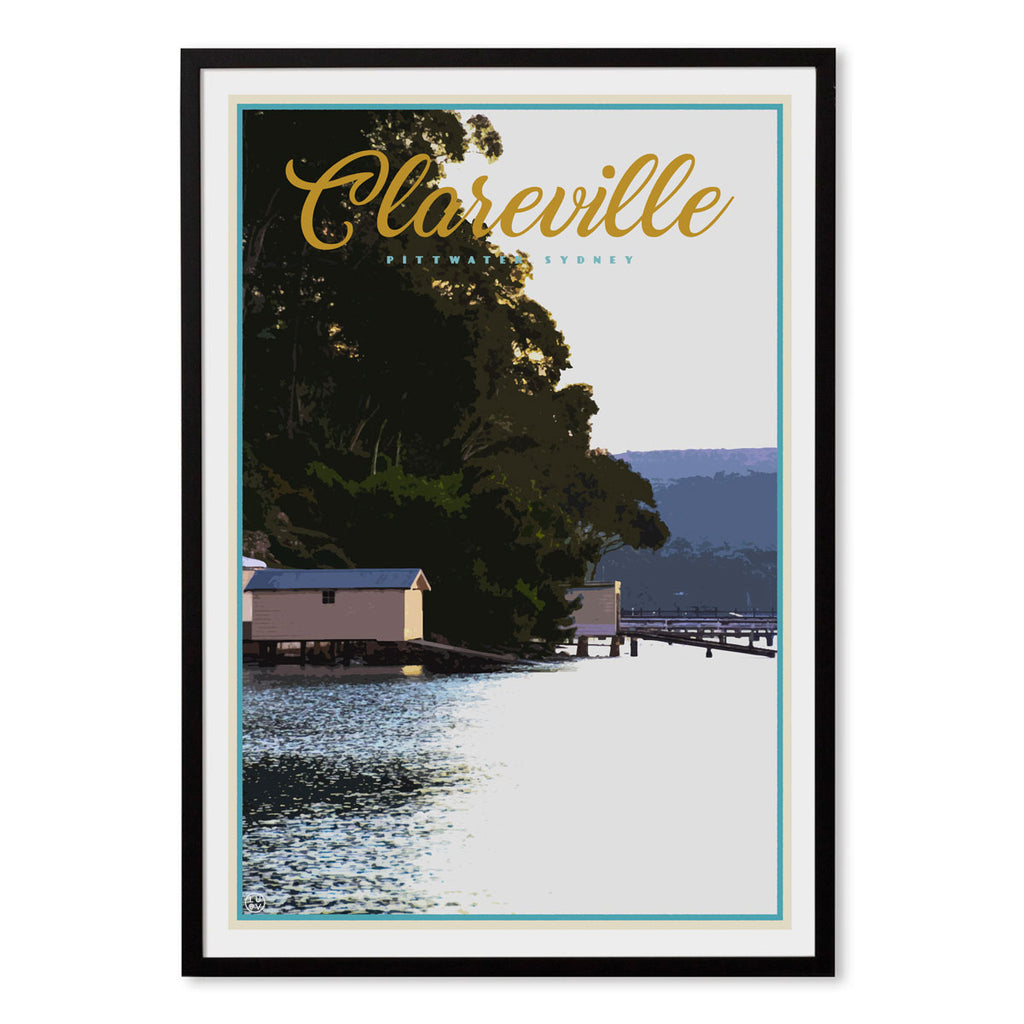 Clareville vintage travel style black framed print by places we luv