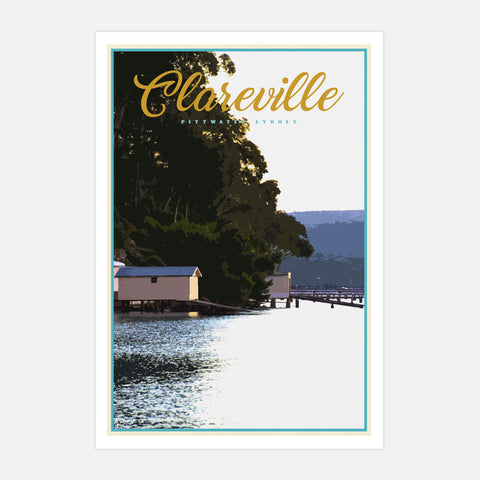 Clareville vintage travel style poster by places we luv